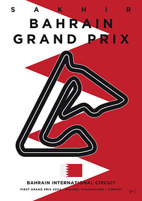 Track Team Digital Art - My 2017 Bahrain Grand Prix Minimal Poster by Chungkong Art