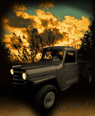 Jeep Photograph - My 51 Willys Jeep Pickup Truck At Sunset by Chas Sinklier