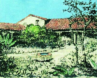 Early California Landscape Painting - My Adobe Hacienda by Roberto Prusso