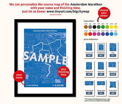 Amsterdam Digital Art - My Amsterdam Marathon by Big City Artwork