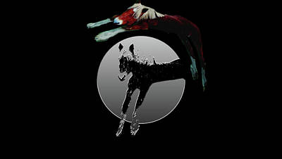 Mixed Media - Horseplay-black And White-selective Color by Mike Breau