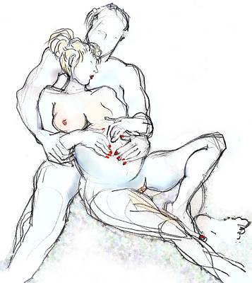 Painting - My Babes - Nude Pregnant Couple by Carolyn Weltman