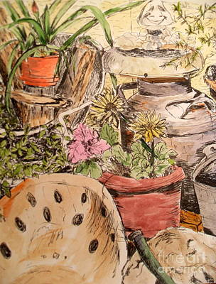 Back Porch Painting - My Back Porch Partial by Vicki  Housel