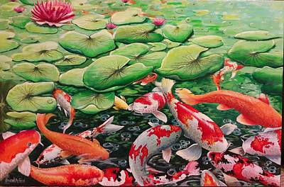 Painting - My Backyard Pond by Owen Lafon