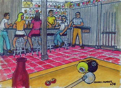 Painting - My Basement Bar Pool Table Columbus Ohio Overbrook Drive 1976 by Frank Hunter
