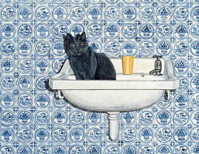 Basin Painting - My Bathroom Cat  by Ditz