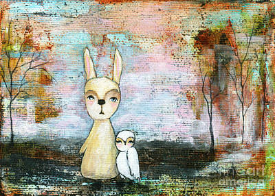 Painting - My Best Friend Baby Rabbit Baby Owl Abstract Art  by Itaya Lightbourne
