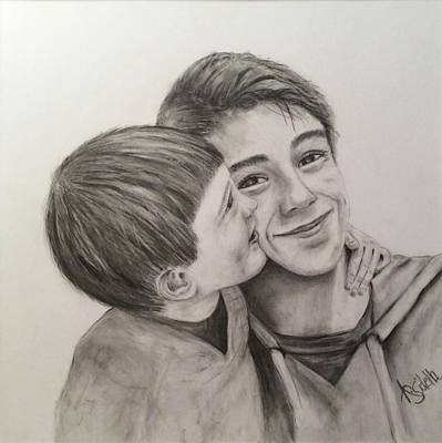 Drawing - My Big Brother by Annamarie Sidella-Felts