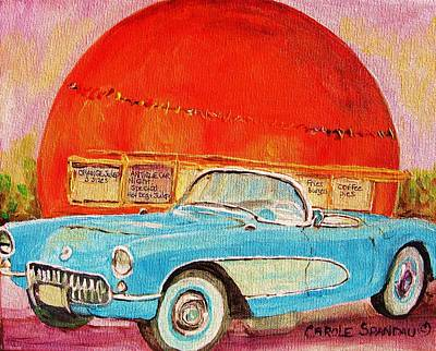 Montreal Neighborhoods Painting - My Blue Corvette At The Orange Julep by Carole Spandau