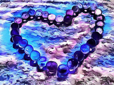 Abstract Hearts Photograph - My Blue Heart by Krissy Katsimbras
