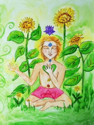 Chakra Rainbow Painting - My Body Is A Rainbow Art Print by Rachael Rose Zoller