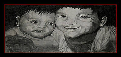 Portaits Drawing - My Boys by Lisa Stanley