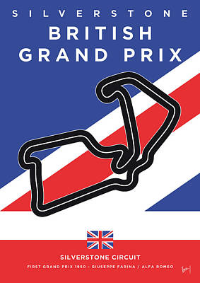 Track Team Digital Art - My British Grand Prix Minimal Poster by Chungkong Art
