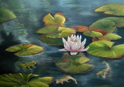 Painting - My Busy Lilly Pond by Ceci Watson