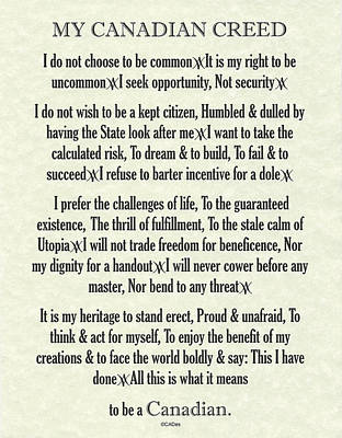 Canucks Painting - My Canadian Creed On Parchment by Desiderata Gallery