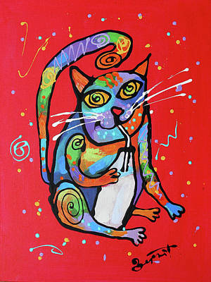 Painting - My Cat Is Super Smart by Leon Zernitsky
