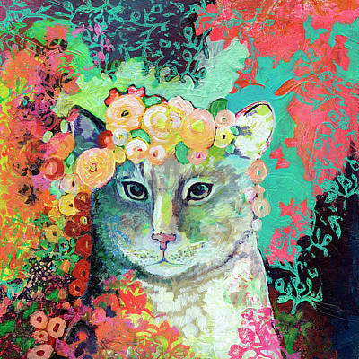 Kitties Painting - My Cat Naps In A Bed Of Roses by Jennifer Lommers