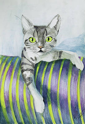 Painting - My Cat Sveti Marvels  by Vali Irina Ciobanu