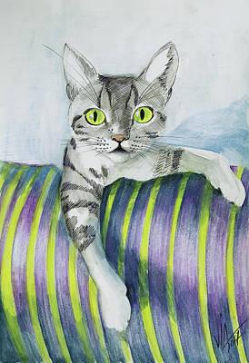 Painting - My Cat Sveti Marvels  by Vali Irina Ciobanu