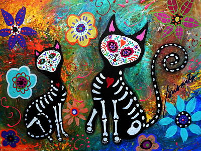 My Cats Dia De  Los Muertos Art Print by Pristine Cartera Turkus