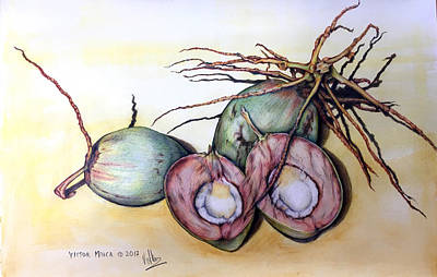Drawing - My Coconuts by Victor Minca