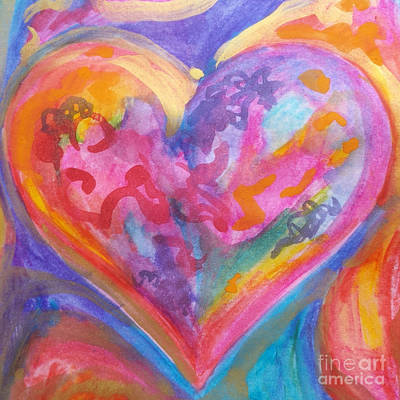 Painting - My Colorful Heart by Expressionistart studio Priscilla Batzell