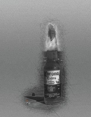Beer Drawings - My Corona by Adam Vance