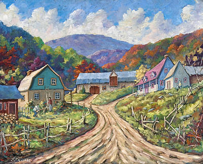 Click Galleries Painting - My Country My Village by Richard T Pranke
