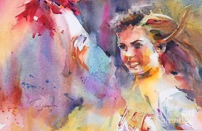 Painting - My Cousin's Cheerleader by John Byram