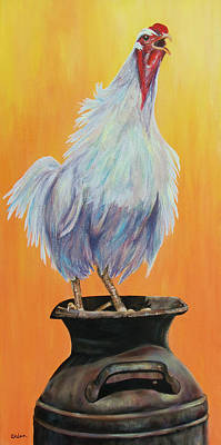 Milk Can Painting - My Crazy Chicken by Susan DeLain