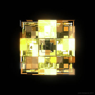 Glass Wall Art - Digital Art - My Cubed Mind - Frame 001 by Jules Gompertz