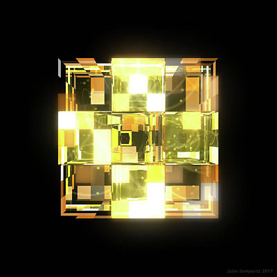 Glass Wall Art - Digital Art - My Cubed Mind - Frame 019 by Jules Gompertz