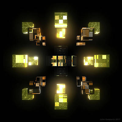 Electro Digital Art - My Cubed Mind - Frame 100 by Jules Gompertz