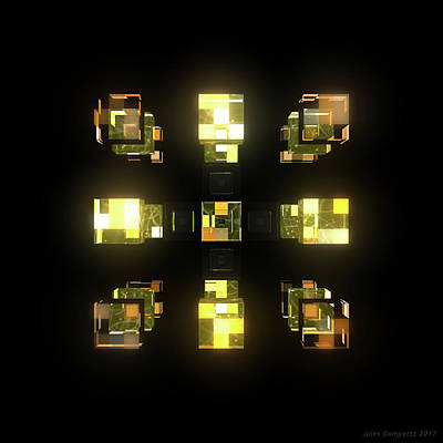 Futuristic Digital Art - My Cubed Mind - Frame 141 by Jules Gompertz
