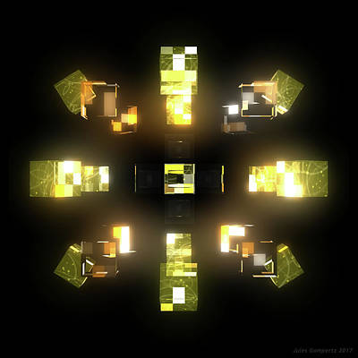 Futuristic Digital Art - My Cubed Mind - Frame 172 by Jules Gompertz
