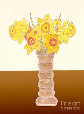 Drawing - My Daffodils by Donna L Munro