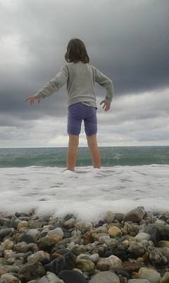 Photograph - My Daughter Francesca - Playing With The Waves 2 by Giuseppe Epifani
