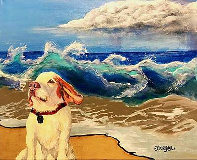 Painting - My Dog And The Sea #1 - Beagle by Esperanza J Creeger