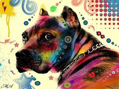 Dog Abstract Art Painting - My Dog by Mark Ashkenazi