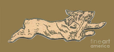 Drawing - My Dog Tricksy Chewing A Bone by Donna L Munro