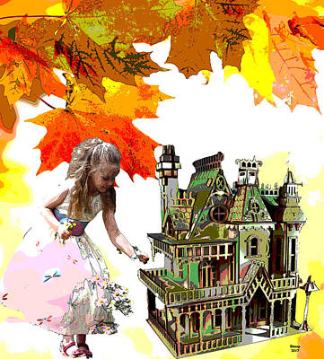 Autumn Landscape Mixed Media - My Doll House by Charles Shoup