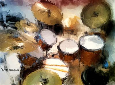 Drum Kit Digital Art - My Drum Set by Gary Nelson