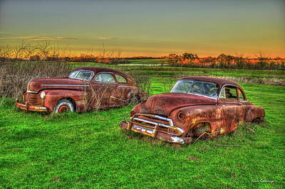 Photograph - My Elder Brother 1941 Pontiac Torpedo Coupe 1951 Chevrolet Deluxe Coupe Art by Reid Callaway