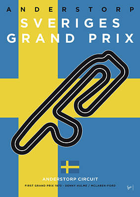 Digital Art - My F1 Anderstorp Race Track Minimal Poster by Chungkong Art