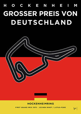 Russian Digital Art - My F1 Germany Race Track Minimal Poster by Chungkong Art