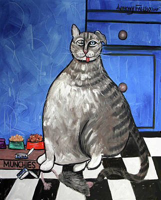 Painting - My Fat Cat On Medical Catnip by Anthony Falbo