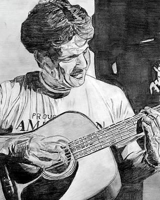 Black Man Playing Guitar Painting - My Father  by David Martin