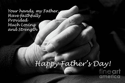 Photograph - My Father's Hands Father's Day Card by Nina Silver