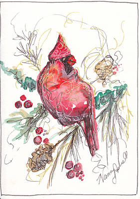 Cardinals In Watercolor Painting - My Favorite Cardinal by Michele Hollister - for Nancy Asbell