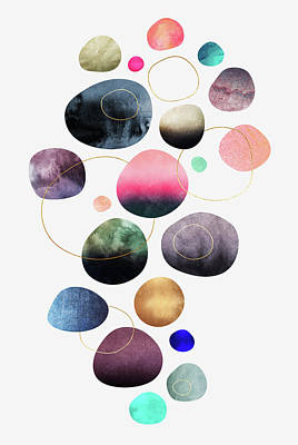 Colorful Abstract Digital Art - My Favorite Pebbles by Elisabeth Fredriksson